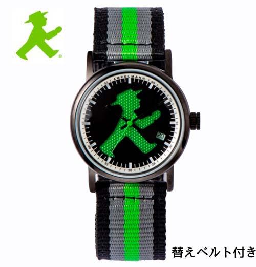 (あす楽)アンペルマン 腕時計 AMPELMANN  クォーツ ラウンド ブラック文字板 ASC-4972-05 ナトー式替えベルト付き