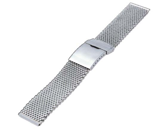 CASSIS カシス  (ミラー仕上げ) 幅22mm 長さ143mmから160mm メッシュタイプブレスレッド 時計ベルト SS Silikon Com  06000 H4 細かく編んだような網目のデザインは、別名「ミラネーゼ」とも呼ばれ、頑丈でありながらエレガントfs04gm