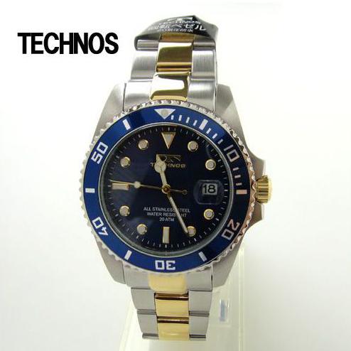 (あす楽)テクノス 腕時計 (TECHNOS)  ブルー ダイバーズ20気圧防水 T2118TN メンズ【送料無料】 【ギフト】【ホワイトデイ】