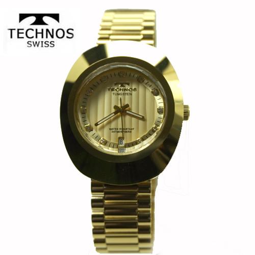 (あす楽)テクノス(TECHNOS) 腕時計 3気圧防水 T9475GC シャンペン・ゴールド文字板 タングステンケース【最安値挑戦】【送料無料】05P04Jun19