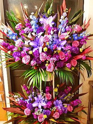 st060 スタンド花 2段 青 紫