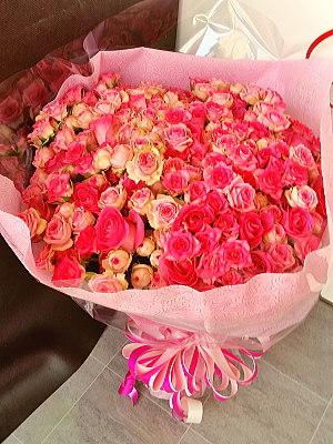 bu015 花束 ピンクバラ ミックス