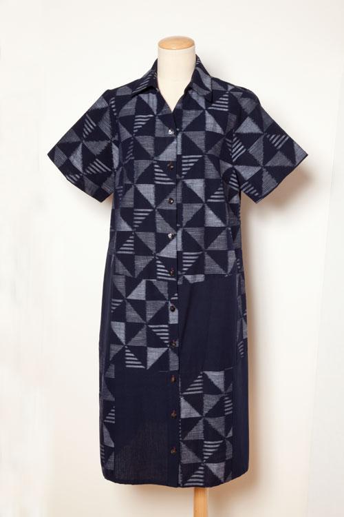 国武織物(久留米絣) ワンピース 9642-B 紺系(和柄)