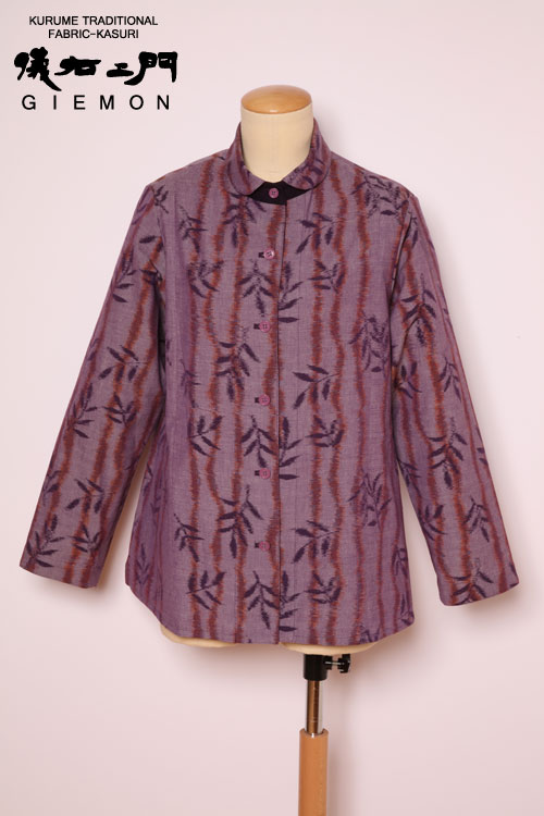 儀右ヱ門(久留米絣) ブラウス BL セ583B2 リボンクリーフ 紫/オレンジ  うすむらさき色(和風)(和柄)長袖