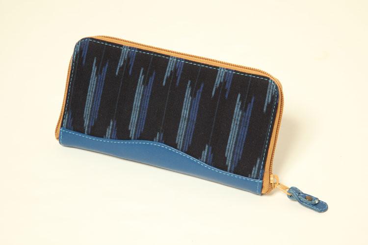 (久留米絣)「木綿」オリジナル 革つかい絣 財布  矢絣 ブルー/紺 長財布