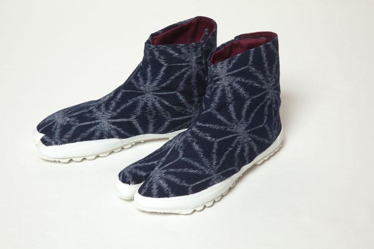 地下足袋スニーカー【久留米絣】紬麻の葉 紺/白24cm