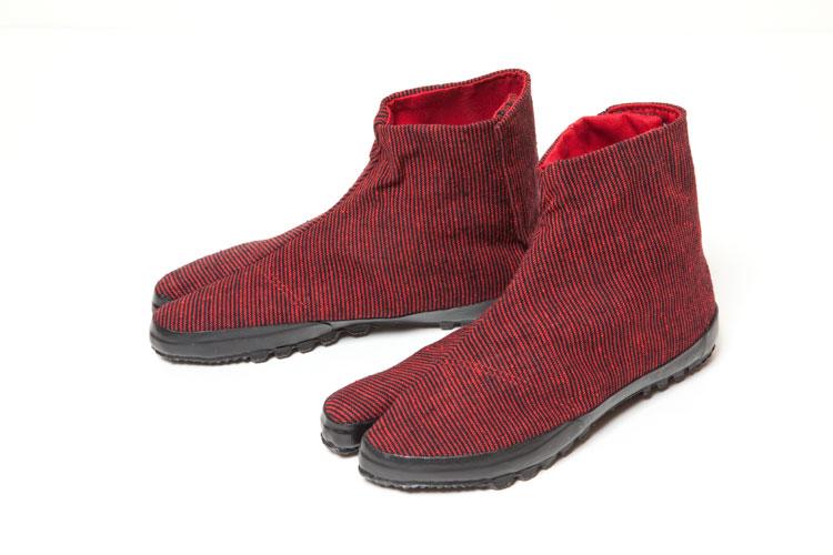 地下足袋スニーカー【久留米絣】赤/黒 細縞(中布:べんがら色)(底:黒)23cm