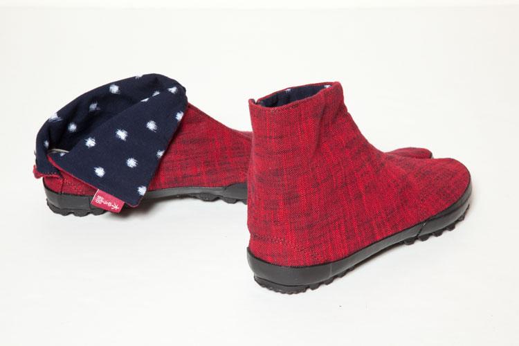 地下足袋スニーカー 久留米絣 白樺 赤系 中布 十立て水玉 紺 白色底 黒色 24cmSGLUzMVpq