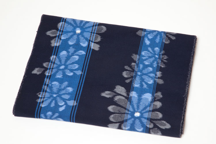 久留米絣の反物六双女物ゆかた 花柄 井266 藍にブルーライン 約12m和柄 反物 久留米絣