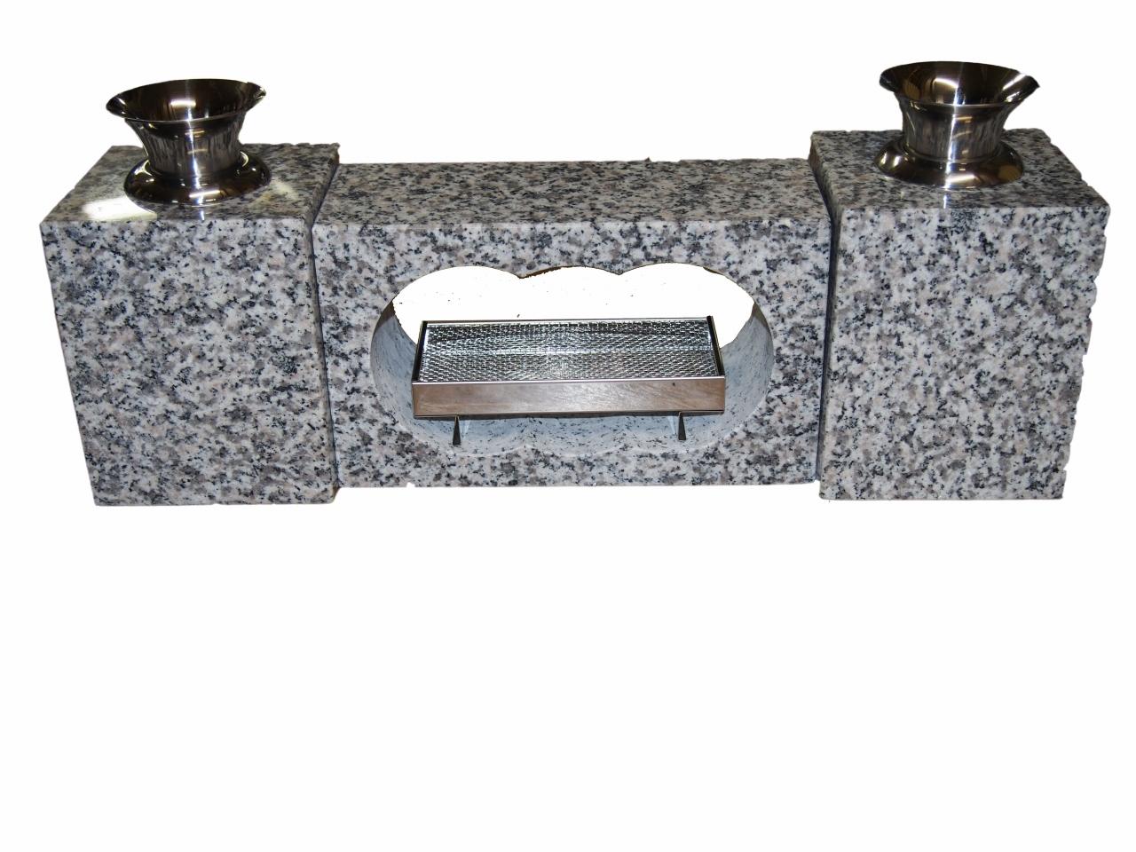 【送料無料】白御影石 墓用 香炉セット S 19kg