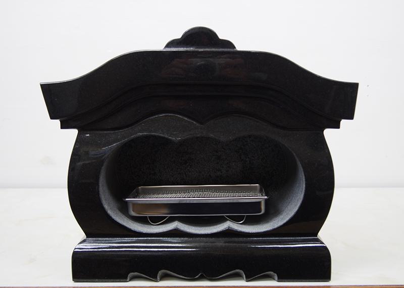 【送料無料】黒御影石 屋根付 墓用 香炉 360x156x303 31.2kg