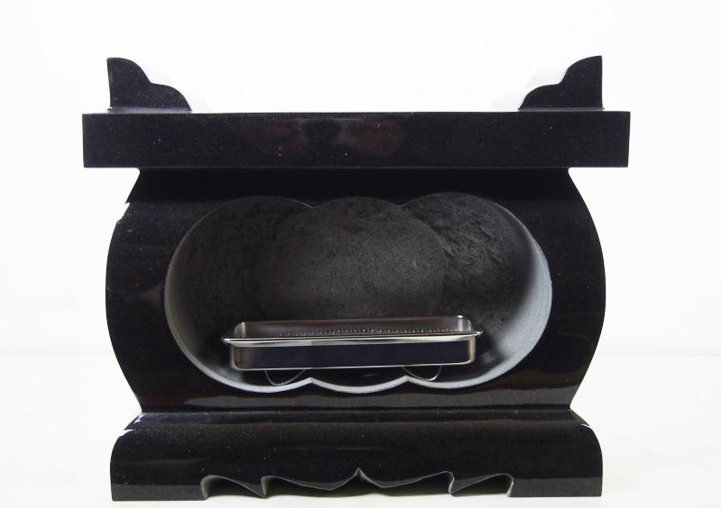【送料無料】黒御影石 経机型 墓用 香炉 365x155x305 29.2kg
