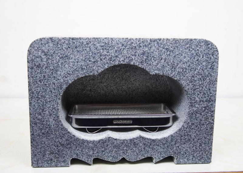 【送料無料】グレー御影石 角丸 墓用 香炉 300x150x200 20.6kg