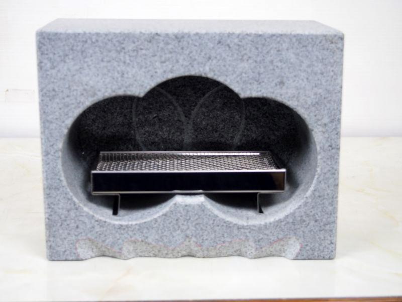 【送料無料】グレー御影石 墓用 香炉 120x230x180 9.8kg