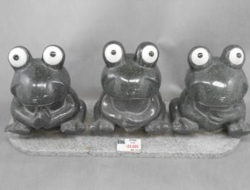 かえる 4 トリオ 石の置物 600x180x160 31kg