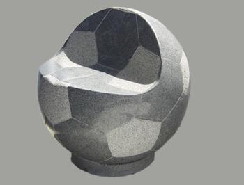 サッカーボールスツール グレー御影 φ500x520 210kg