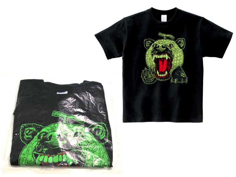 Melon bear T shirt black & green (melon / bear / Mellon Kuma and Kumar breathless and so-called character / toy / local / Yubari melon / Hokkaido / Yubari city and Sapporo City / kimoi / cute / kimono / gatigase / storm)