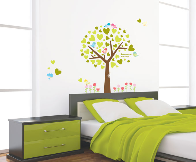 "Wall sticker ""heart tree and bird"""