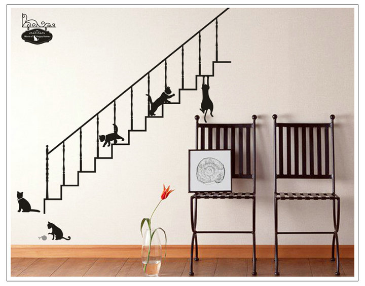 youlamp: large-format wall sticker cats and stairs sign [wall