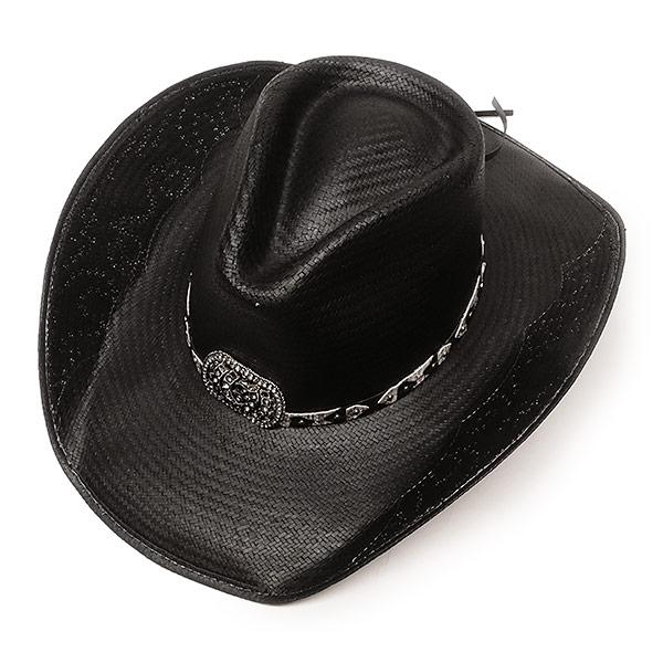 #320088ブルハイド(BULLHIDE)ストロー素材ウエスタンハット - COWGIRL FANTASY レディース ストローハット 麦わら帽子 テンガロン カウガール 黒 ブラック S M L XL 2640