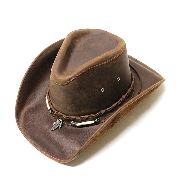 #320022ブルハイド(BULLHIDE)レザーウエスタンハット - BRISCOE /ブリスコー メンズ レディース 帽子 テンガロンハット カウボーイ カウガール 衣装 ダンス イベント フェザー 羽根 BONE 骨 飾り 茶 ブラウン S M L XL 4052CH