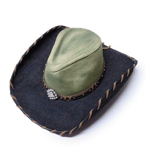 #320049ブルハイド(BULLHIDE)デニム素材ウエスタンハット - HOUSE PARTY/ホームパーティー メンズ レディース テンガロンハット デニム帽子 カウボーイ カウガール 衣装 ダンス 紺 ネイビー S M BLUE 2888