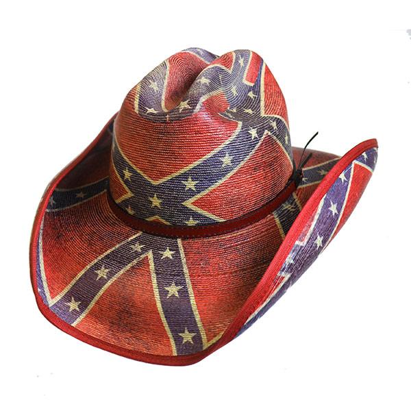 #320060ブルハイド(BULLHIDE)ウエスタンストローハット - CRACKER LINE 20X/クラッカーライン20X 南軍旗 レベルフラッグ アメリカ レディース カウガール 麦わら帽子 ウエスタンハット テンガロンハット 衣装 2889 S M L XL