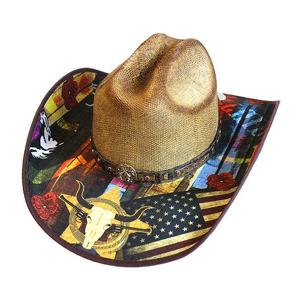 #320063ブルハイド(BULLHIDE)ウエスタンストローハット - I NEED A DRINK/アイニードアドリンク 麦わら帽子 ウエスタンハット テンガロンハット 衣装 2915 S M L XL