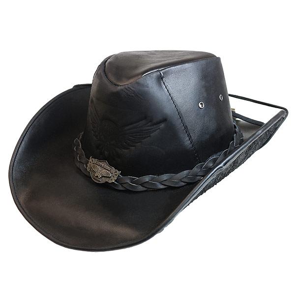 #320070ブルハイド(BULLHIDE)レザーウエスタンハット - KING OF THE ROAD/キングオブザロード 帽子 テンガロンハット カウボーイハット 本革 衣装 ダンス 黒 ブラック M L XL 4031BL
