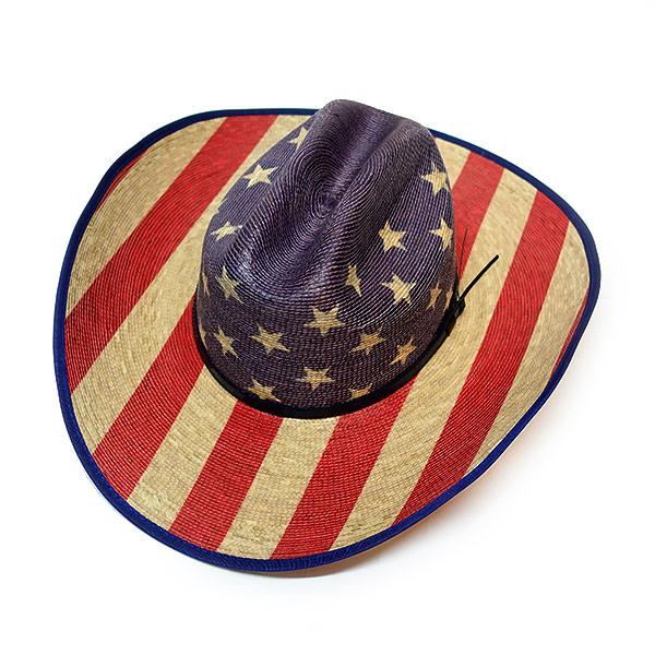 #320059ブルハイド(BULLHIDE)ウエスタンストローハット - STAR SPANGLED/スタースパングル 20X 星条旗 アメリカ国旗 レディース カウガール 麦わら帽子 ウエスタンハット テンガロンハット リゾート ビーチファッション 衣装 2928 S M L XL