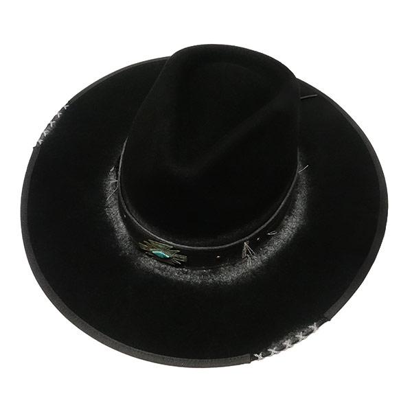 #320086ブルハイド(BULLHIDE)ウエスタンハット - MESSED UP ユーズド加工 ウェスタンハット テンガロンハット カウボーイハット カウガール 黒 ブラック S M L 0769