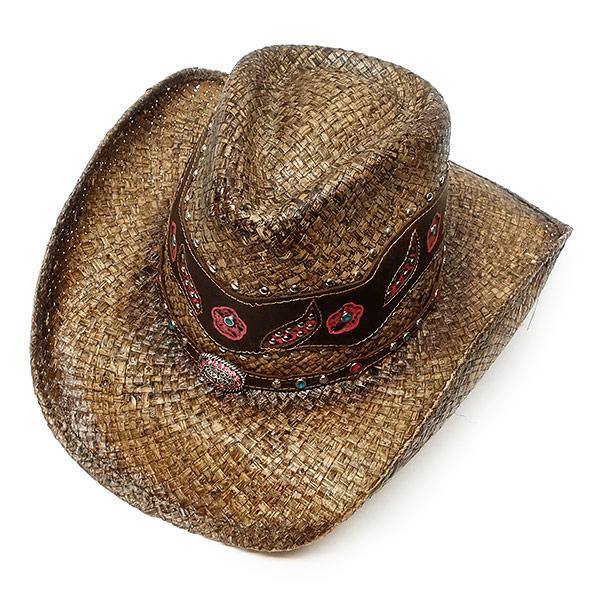 #320089ブルハイド(BULLHIDE)ストロー素材ウエスタンハット - ALL IN MY HEAD レディース ストローハット 麦わら帽子 テンガロン カウガール 茶 ブラウン S M L XL 2913