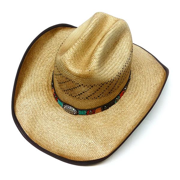 #320090ブルハイド(BULLHIDE)ストロー素材ウエスタンハット - TOO GOOD レディース ストローハット 麦わら帽子 テンガロン カウガール ベージュ S M L XL 2917