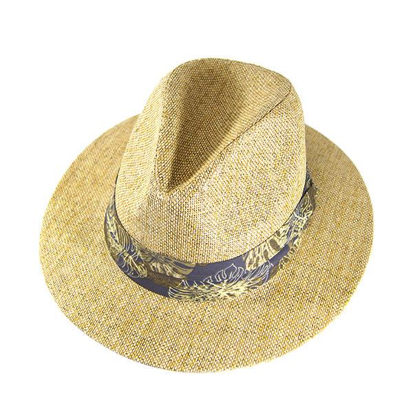 #930147 Dorfman Pacific (DORFMAN PACIFIC/DPC) paper straw material straw hat and straw hat men's straw hat paper Hat tear drop cap turu Hat leaf pattern Ribbon resort travel pool sea beige MS298 ASST 02P20Sep14