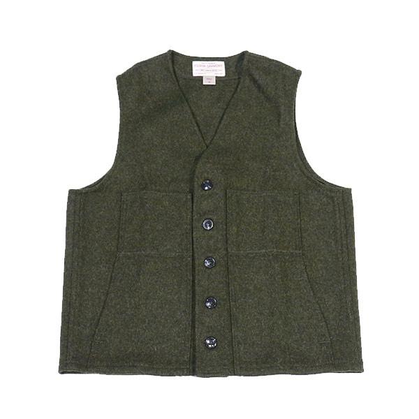 #101003フィルソン(FILSON)マッキーノウールベスト - MACKINAW WOOL VEST メンズ ヴァージンウール 羊毛 アウター 保温 防寒 重ね着 緑 グリーン M L XL
