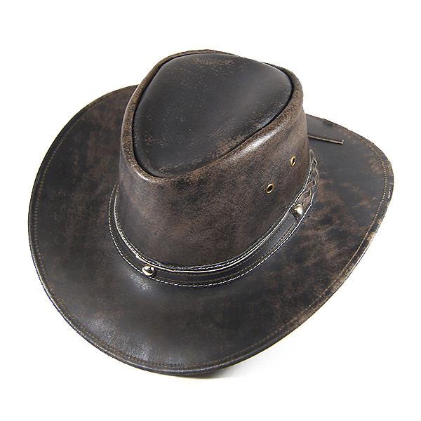 #900009ロックマウント(Rockmount)レザーウエスタンハット(ワイヤー入り) メンズ レディース 帽子 ウエスタン ウェスタンハット カウボーイハット テンガロンハット レザー 本革 ワイヤー ドローコード ブラウン 茶 S M L 2862 BROWN