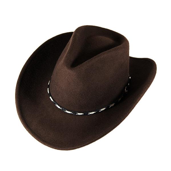 #900012ロックマウント(Rockmount)クラッシャブルフェルトウエスタンハット(編込みバンド/ワイヤー入り) - COWBOY DREAM アメリカ産 カウボーイハット 帽子 ウール ブラウン 茶 S M L XL