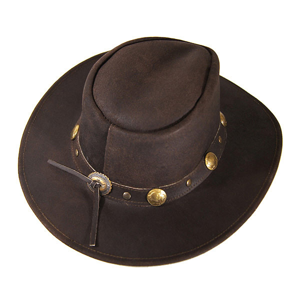 ... Concho leather Western hat (wire) Western cowboy hat fedora Hat mens  ladies leather leather Cowgirl studded chocolate brown brown M L 2849  CHOCOLATE 5f9c20d4499