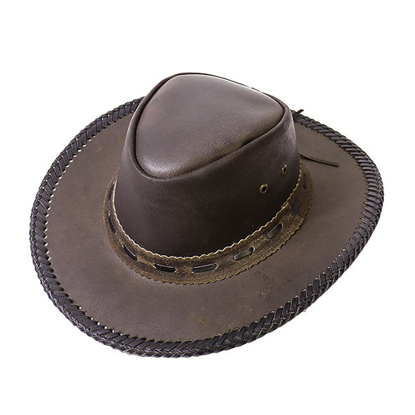 11ff1dab3c63ea #900021-lock mount (Rockmount) leather Western Hat men's women's eyelet  braided Hat ...