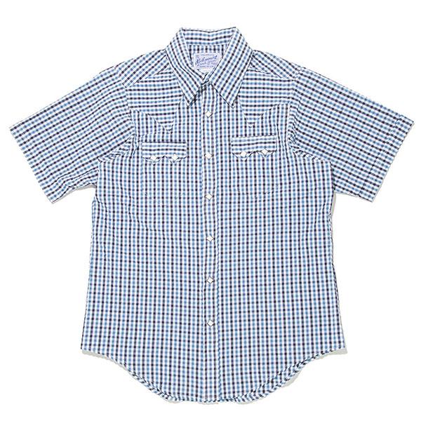 #901058ロックマウント Rockmount チェック柄 半袖ウエスタンシャツ (FITTED BODY) SP1604 BLUE S-L