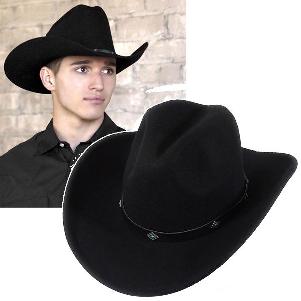 #900002ロックマウント(Rockmount)クラッシャブルフェルトウエスタンハット(ターコイズコンチョ/ワイヤー入り) - COWBOY MAGIC カウボーイ テンガロンハット 帽子 ウール ブラック 黒 S M L XL