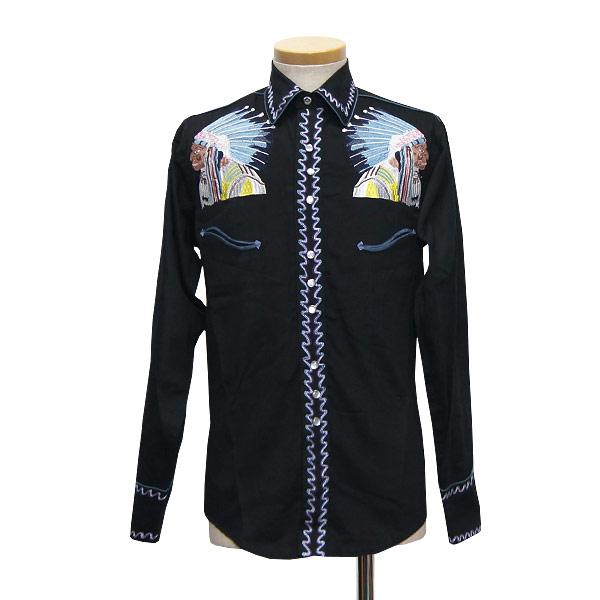 #902062ロックマウント(Rockmount)インディアン刺繍ウエスタンシャツ 長袖シャツ 長袖ウエスタンシャツ メンズ 民族 ネイティブ アメリカン 顔 ブラック 黒 14.5 15.5 16.5 S M L SP6862 BLK