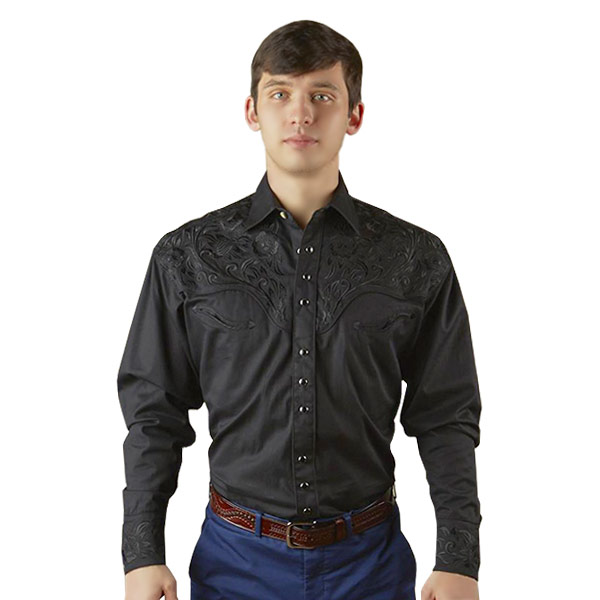 #902231ロックマウント Rockmount ヴィンテージ ツーリング 刺繍 ウエスタンシャツ (リラックスフィット) ブラック 6859 BLK/BLK S-L
