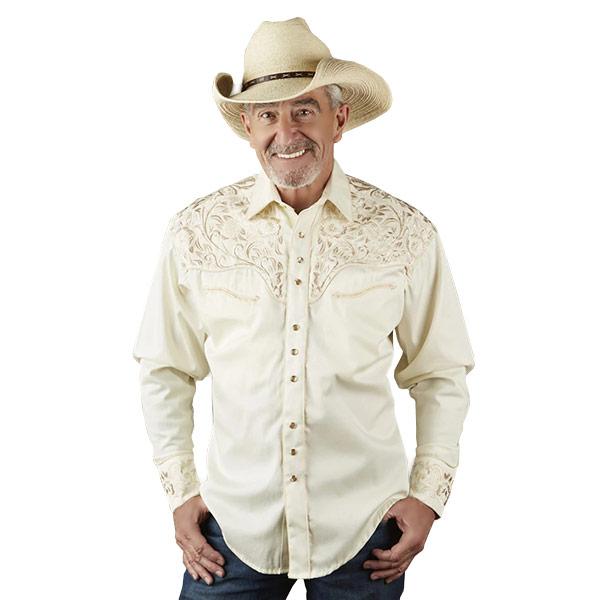 #902232ロックマウント Rockmount ヴィンテージ ツーリング 刺繍 ウエスタンシャツ (リラックスフィット) アイボリー 6859 IVO/TAN S-L