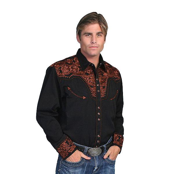 #912011スカリー(Scully)フローラル刺繍入りウエスタンシャツ - MEN'S FLORAL TOOLED EMBROIDERY SHIRT ステージ衣装 ロカビリー カントリー フラワー 花 バラ 薔薇 大きいサイズ 黒 ブラック S M L XL P 634 BLK
