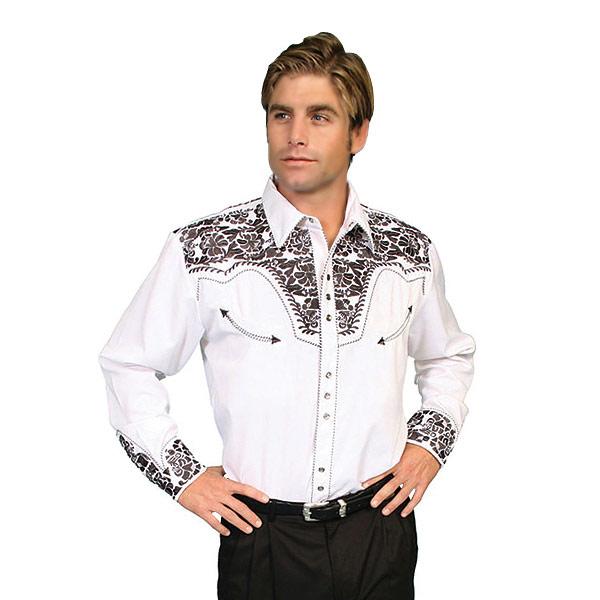 #912014スカリー(Scully)フローラル刺繍入りウエスタンシャツ - MEN'S FLORAL TOOLED EMBROIDERY SHIRT ステージ衣装 ロカビリー カントリー フラワー 花 バラ 薔薇 大きいサイズ 白 ホワイト S M L XL P 634 PEW