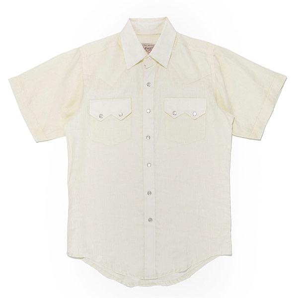 #901050ロックマウント(Rockmount)リネン素材半袖ウエスタンシャツ (ブルー) 麻 ウェスタンシャツ 半袖シャツ カジュアルシャツ 無地 白 ホワイト SP1648