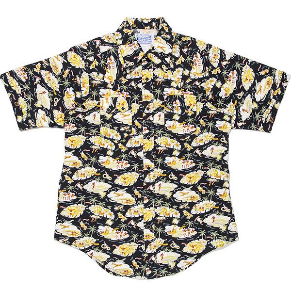 #901052ロックマウント(Rockmount)アロハ柄半袖ウェスタンシャツ (FITTED BODY) アロハシャツ 米国製 ウエスタンシャツ 半袖シャツ 黒 ブラック 14.5 15.5 16.5 S M L SP1648