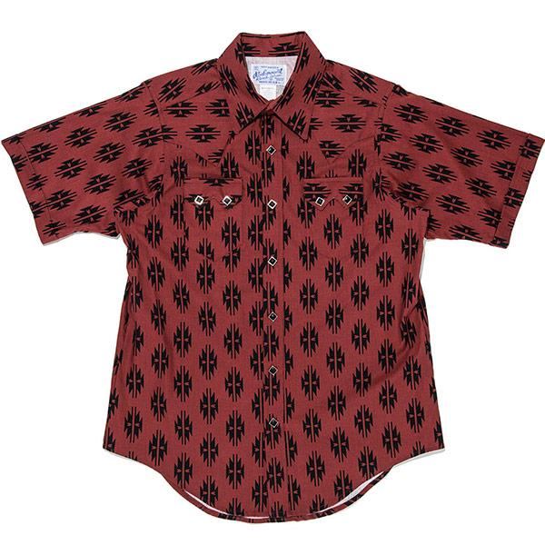 #901054ロックマウント(Rockmount)半袖ウェスタンシャツ (FITTED BODY) アロハシャツ 米国製 ウエスタンシャツ 半袖シャツ 赤 レッド 14.5 15.5 16.5 S M L SP1634