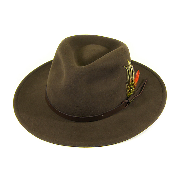 930066 scalar (SCALA) with feather crushable felt hats Dorfman Pacific  DORFMAN PACIFIC DPC wool WOOL caps  amp  hats Hanetsuki khaki DF6 KHAKI L 8a82235b17f